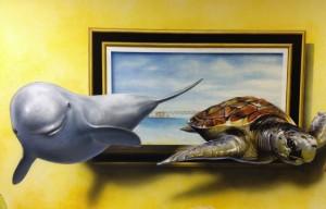 壁画|イルカ&ウミガメ