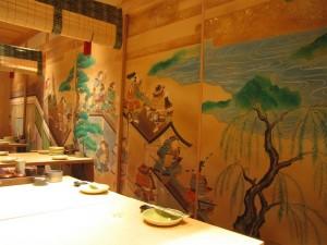 壁画|飲食店、日本画風襖絵